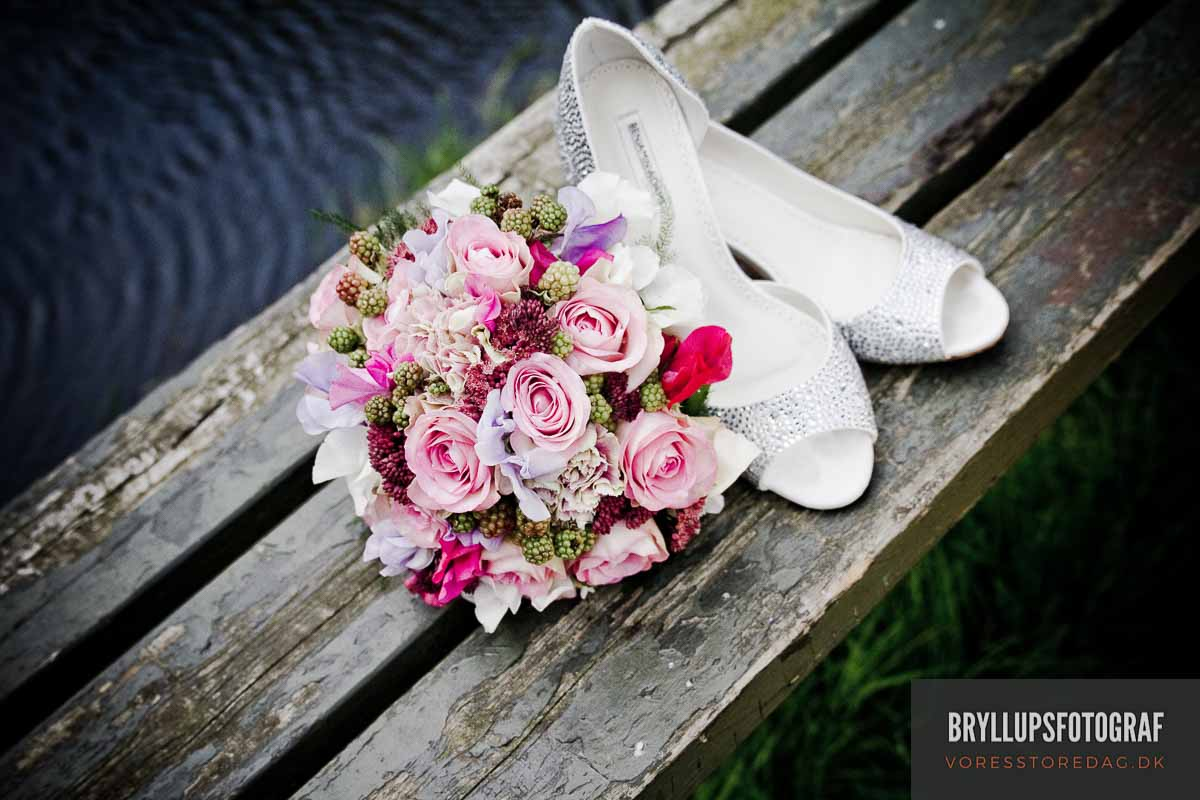 brudebuket og bryllupsko